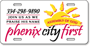 Phenix City First Assembly of God, Alabama: 'Before and After' license plate makeover - (After)