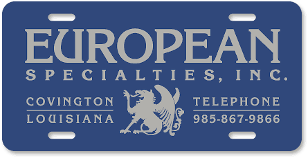 European Specialties plastic car dealer plates - detail