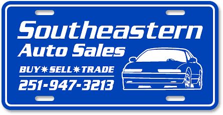 Southeastern Auto Sales plastic license plate layout sample - detail view