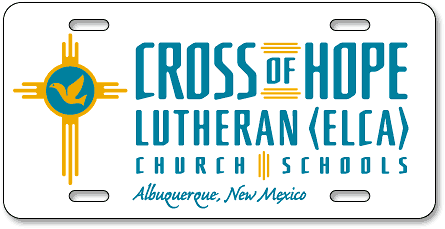 Albuquerque Cross of Hope Lutheran (ELCA) Church/Schools license plates - detail
