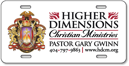 Higher Dimensions Christian Ministries digital full-color aluminum auto tags - detail
