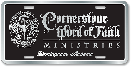 Cornerstone Word of Faith Ministries (Birmingham, Alabama) license plates - detail