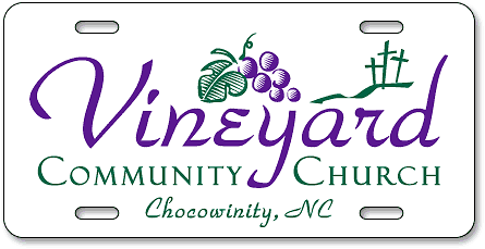 Vineyard Community Church (Chocowinity, NC) custom license plates - detail