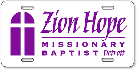Zion Hope Missionary Baptist Church (Detroit) license plates - detail