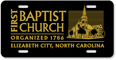 Elizabeth City First Baptist Church license plate sample design - detail view
