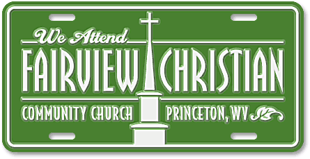 Fairview Christian Community Church custom embossed license plates - detail