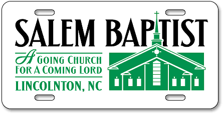 Lincolnton, North Carolina, Salem Baptist Church auto tag sample design - detail