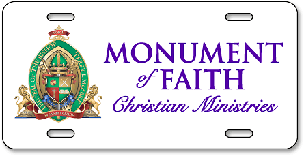 Monument of Faith Christian Ministries custom aluminum digital-color license plates - detail