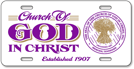 Sanders Temple Church of God in Christ custom license plates - detail