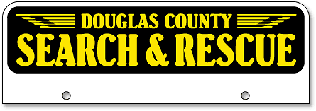 Douglas County Search and Rescue half-size top license plates - detail