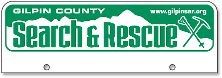 Gilpin County Search and Rescue half-size license plates (top-mount) - detail