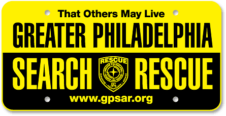 Greater Philadelphia Search and Rescue custom license plates - detail