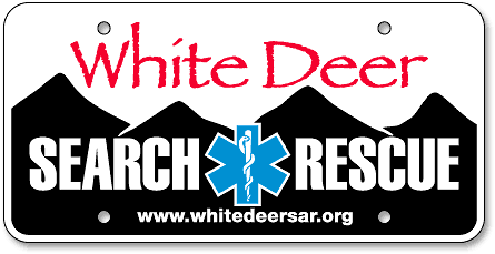 White Deer Search and Rescue EMS custom license plates - detail