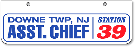 Downe Township Fire-Rescue (Assistant Chief) half-high license plates - detail