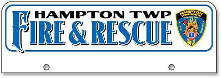 Hampton Township Fire and Rescue half-size license plates (top-mount) - detail