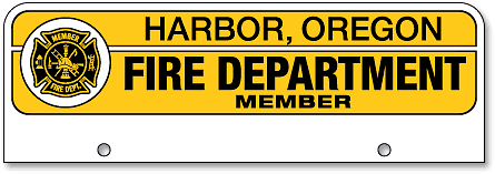 Harbor Fire Department half-size license plates (top-mount) - detail