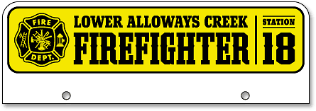 Lower Alloways Creek Fire-Rescue half-high license plate toppers (top-mount) - detail