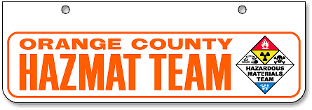Orange County Hazmat Team half-size license plates (bottom-mount) - detail