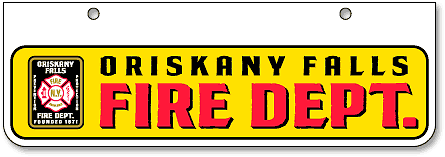 Oriskany Falls Fire Department half-size license plates (bottom-mount) - detail