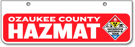 Ozaukee County Hazmat half-size license plates (bottom-mount) - detail