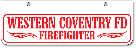 Western Coventry Fire Department half-size license plates (bottom-mount) - detail