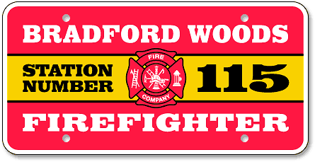 Bradford Woods Volunteer Fire Company custom reflective license plates - detail