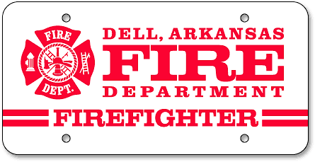 Dell Fire Department custom license plates - detail