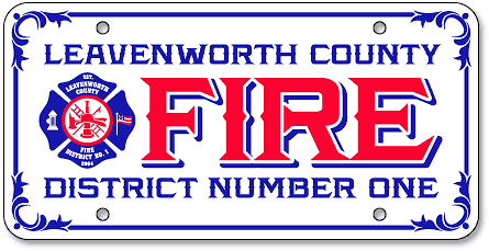 Leavenworth Fire District #1 custom license plates - detail