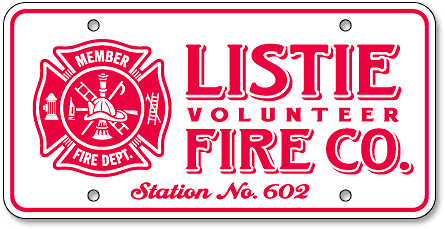 Listie Volunteer Fire Company custom reflective license plates - detail