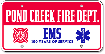 Pond Creek Fire Department and EMS Association custom license plates - detail