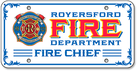 Royersford Fire Department (Chief) auto plate design - detail