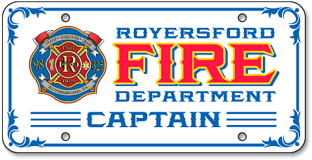 Royersford Fire Department (Captain) license plate design - detail