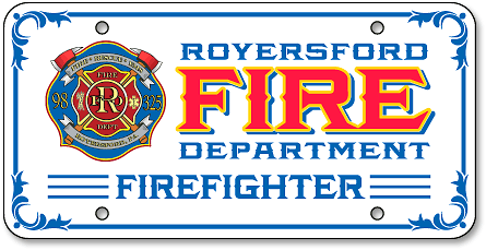 Royersford Fire Department (Firefighter imprint) auto tag design - detail