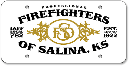 Salina Fire Department Union custom reflective license plates - detail