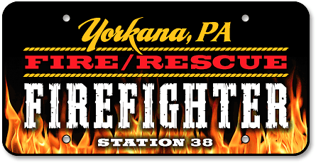 Yorkana Fire Company full-color custom license plates - detail