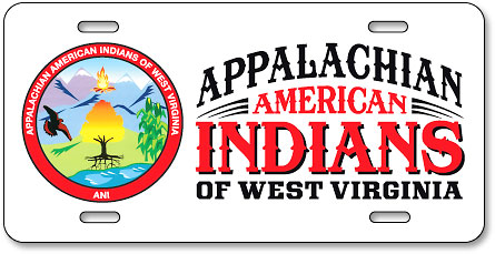 Appalachian American Indians of West Virginia custom full-color aluminum license plates - detail
