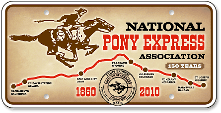 National Pony Express Association custom car tag design - detail