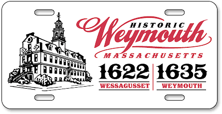 Historic Weymouth Massachusetts custom polyethylene plates (for Weymouth League of Women Voters) example design - detail view