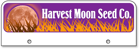 Harvest Moon Seed Company half-high license plate toppers - detail
