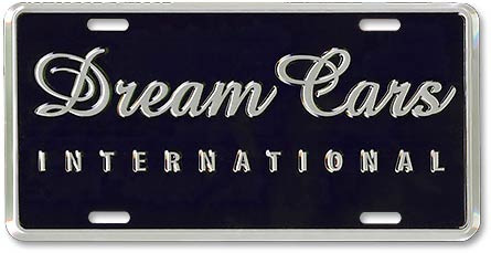 Dream Cars International custom stamped license plates - detail