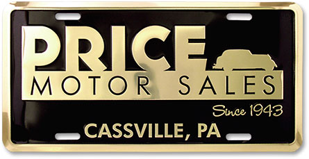 Price Motor Sales (Cassville) custom embossed gold-finish aluminum license plates - detail