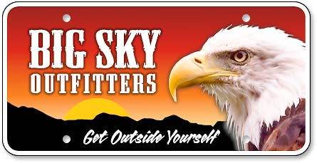 Big Sky Outfitters custom license plate - detail