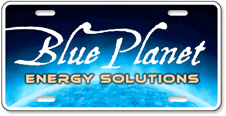 Blue Planet Energy Solutions custom plastic auto tag design - detail view