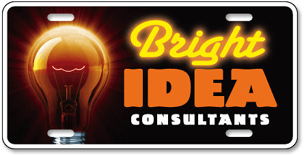 Bright Idea Consultants custom high-gloss plastic license plate design - detail