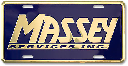 Massey Services custom embossed gold chrome-finish aluminum license plates - detail