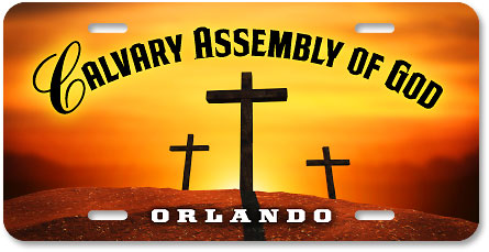 Calvary Assembly of God digital-color high-gloss plastic car tag sample - detail view