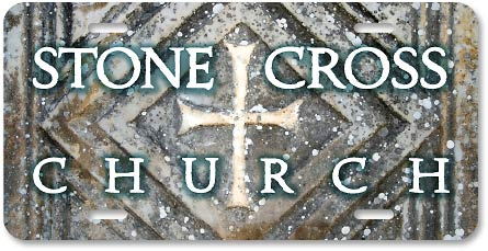 Stone Cross Church digital-color high-gloss plastic license design - detail
