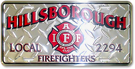 Hillsborough Firefighters IAFF Local 2294 custom embossed diamond-tread license plates - detail