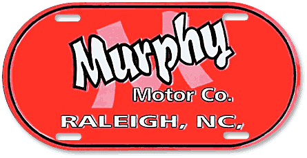 Murphy Motor Company custom stamped aluminum capsule-shaped auto plate sample - detail