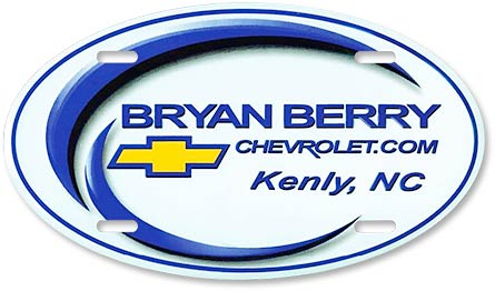 Bryan Berry Chevrolet custom embossed oval license plate design - detail